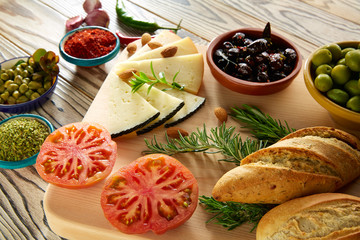 Mediterranean food bread oil olives cheese