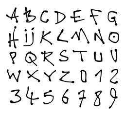 liquid font and number alphabet over white