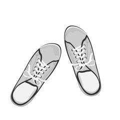 Black and white, gray sport gumshoes. Realistic flat illustration isolated on white background. View from above