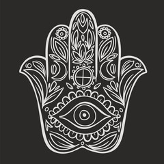 Hamsa hand doodle symbol