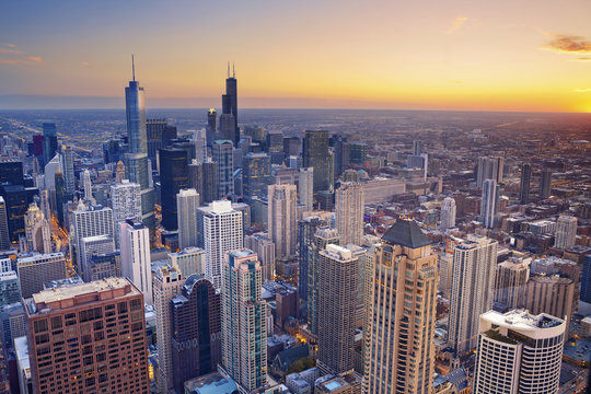 Chicago. Aerial view of Chicago downtown at twilight from high above.