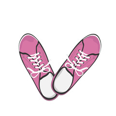 Bright pink sport gumshoes. Realistic flat illustration isolated on white background. View from above