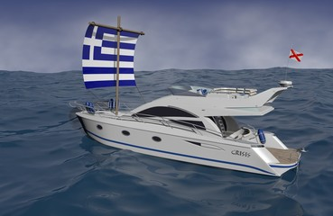 Surreal 3D illustration - Luxury motor yacht drifting without fuel in the sea, driven by a simple sail, made from Greek flag.
