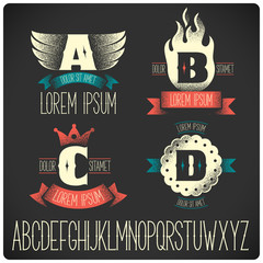 Vector set of heraldic letter signs. ABCD