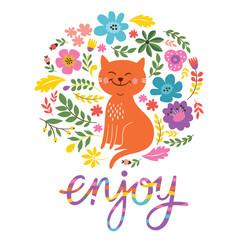 greeting card design, lettering enjoy