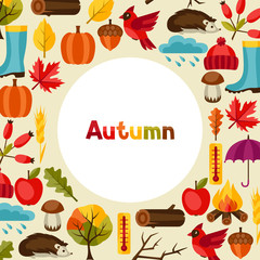 Background design with autumn icons and objects