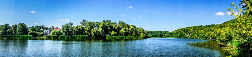 Wonderful panorama of  lake  by summer.