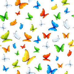 Seamless background with colorful butterflies