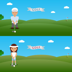 Set illustration man and woman golfer.