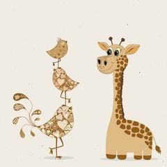Cute cartoon giraffe and birds
