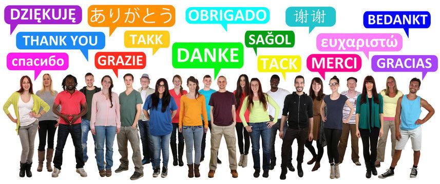 Multikulturell People Gruppe junge Leute sagen danke
