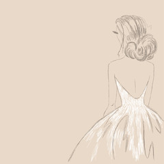 Sketch of the bride. Vector Illustration