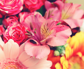 beautiful bouquet of flowers , toned image.