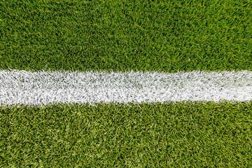 Chalk line on artifical turf soccer field