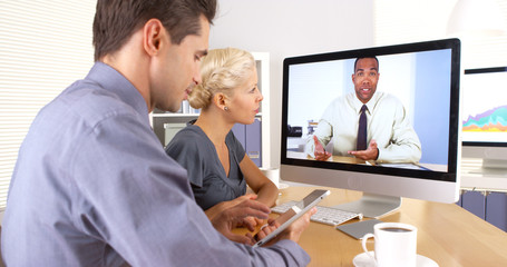Business colleagues having a video conference