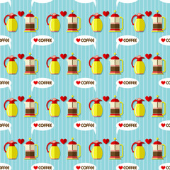 coffee maker and coffee jug seamless pattern