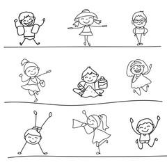 hand drawing cartoon happy kids