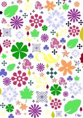 fond floral,fleurs et feuilles de toutes les couleurs