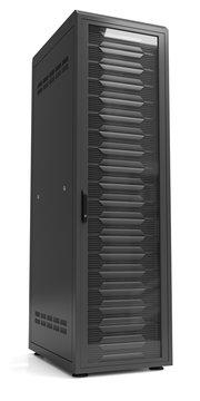Network server racks in server cabinet isolated on white.