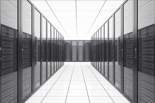 Data center with network servers in futuristic room.