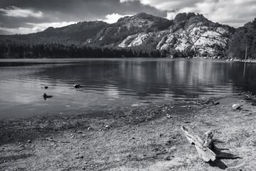 Corsica, monochrome landscape with still lake