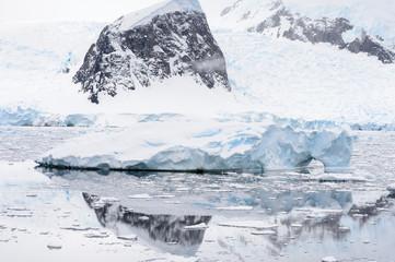 Icebergs on the Atlantic Ocean in Antarctica