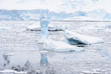 Beautiful landscape of icebergs, snow and ice of Antarctica