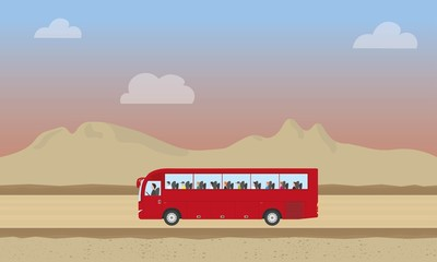 Touristic bus with kids in desert