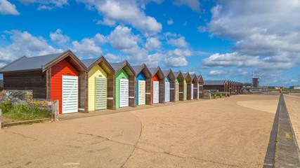 Blyth beach huts on the Northumberland coast
