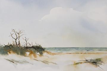 Original watercolour, Beach Landscape.
