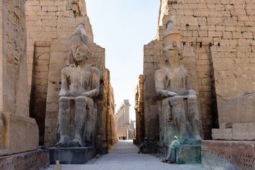 Colossus inside Luxor Temple, a large Ancient Egyptian temple, East Bank of the Nile, Egypt. UNESCO World Heritage