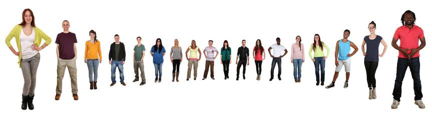 Lachen glücklich multikulturell junge People Gruppe im Halbkrei