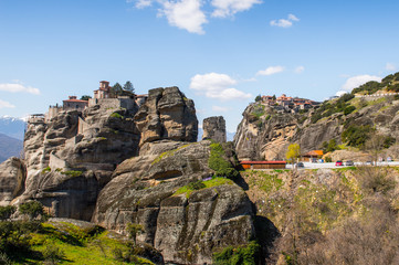 Holy Monastery of Varlaam in Meteora mountains, Thessaly, Greece.  UNESCO World Heritage List