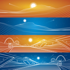 Vector illustration set, sand dunes and two trains traveling on rails, night city