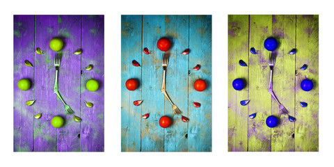 Textured abstract clock face showing 5 on wooden background,icons, triptych in purple,green and blue Wall mural