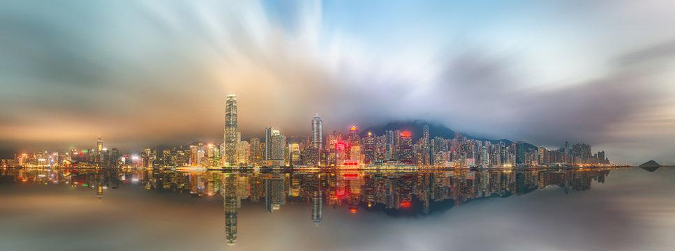 Panorama of Hong Kong island, skyline and Financial district