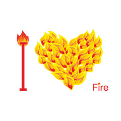 I love fire. Symbol of  heart of  flame. Flaming heart. Vector i