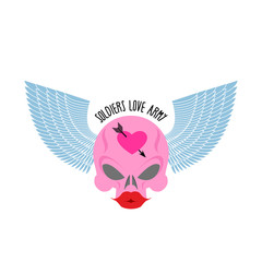 Logo, logo of soldier of love. Pink skull with large red lips an