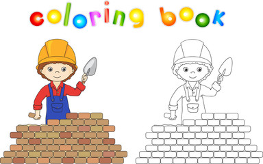Obraz Young builder or engineer in a uniform and helmet with trowel ne - fototapety do salonu