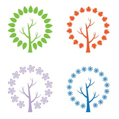 Set of illustration abstract trees. Vector