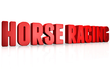 3D horse racing text on white background