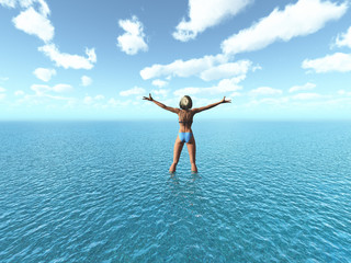 3D female in tropical sea