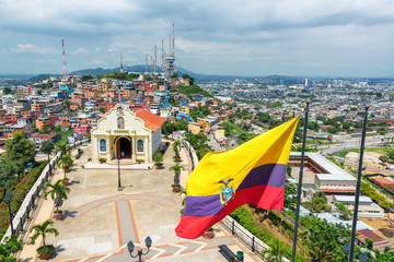 Flag and Church in Guayaquil