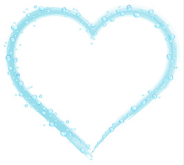 water drops on a blue drawn heart on a white background