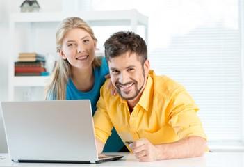 E-commerce, Couple, Laptop.