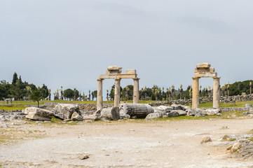 Columns in Hierapolis, Pamukkale, Turkey. UNESCO World Heritage
