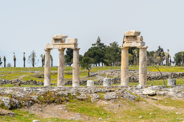 Columns in Hierapolis, Pamukkale, Turkey. UNESCO World Heritage