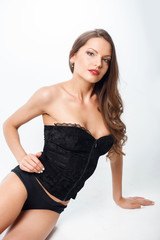 Beautiful young woman is relaxing in attractive underwear