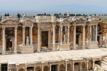 Amphitheater in ancient Hierapolis, Pamukkale, Turkey. UNESCO World Heritage site