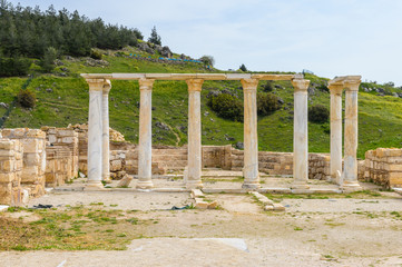Ancient temple ruins in Hierapolis, Pamukkale, Turkey. UNESCO World Heritage